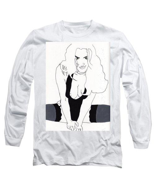 Anna-black Stockings Long Sleeve T-Shirt