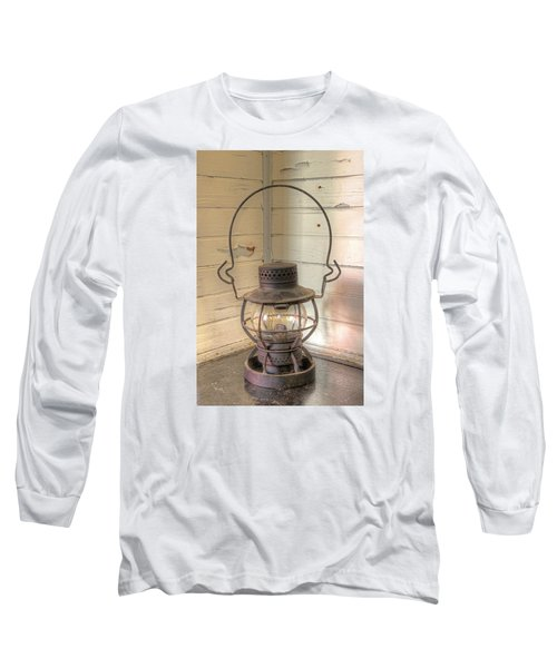Long Sleeve T-Shirt featuring the photograph Antique Weighted Kerosene Lantern by Gary Slawsky