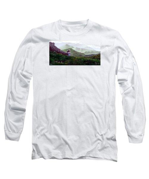 Antonio Atop La Rocca De Monte Calvo Long Sleeve T-Shirt by Albert Puskaric