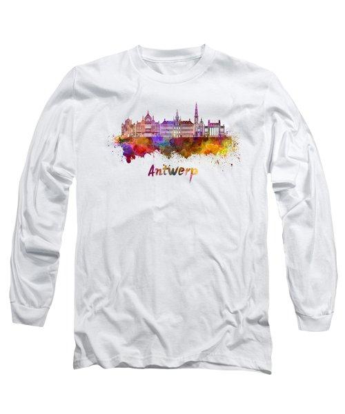 Antwerp Skyline In Watercolor Long Sleeve T-Shirt
