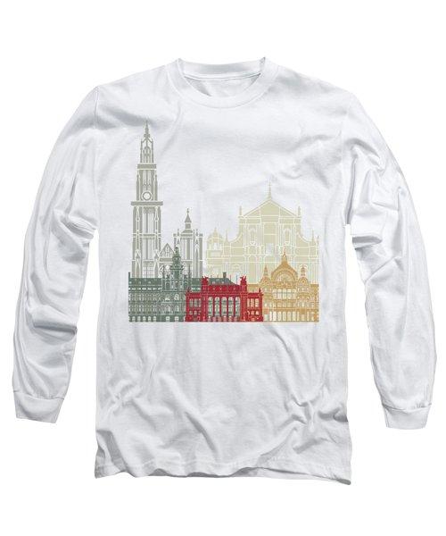 Antwerp Skyline Poster Long Sleeve T-Shirt
