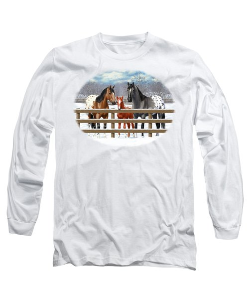 Appaloosa Horses In Winter Ranch Corral Long Sleeve T-Shirt
