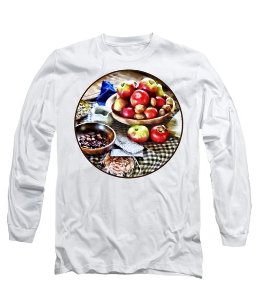Apples And Nuts Long Sleeve T-Shirt by Susan Savad