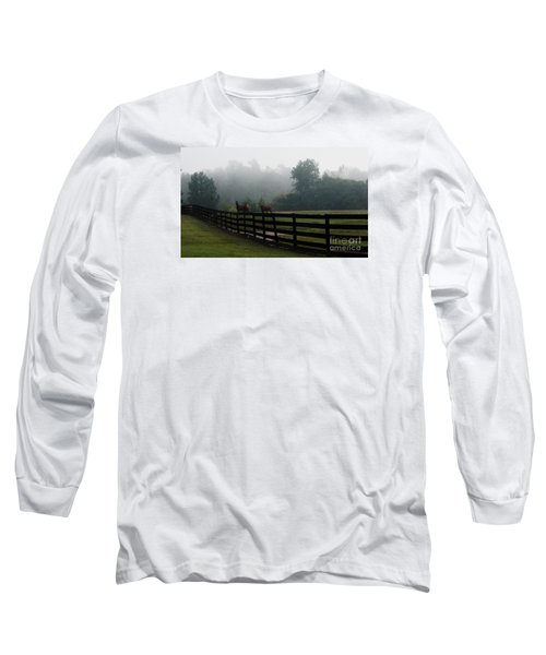 Long Sleeve T-Shirt featuring the painting Arabian Horse Landscape by Debra Crank