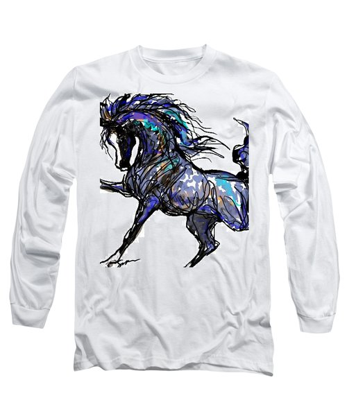 Arabian In Blue Long Sleeve T-Shirt by Stacey Mayer