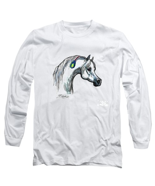 Arabian Peacock Feather Long Sleeve T-Shirt by Stacey Mayer