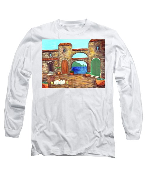 Long Sleeve T-Shirt featuring the painting Arches Of Amalfi  by Larry Cirigliano