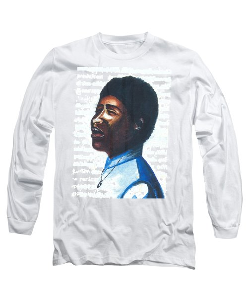 Long Sleeve T-Shirt featuring the painting Aretha Franklin by Emmanuel Baliyanga