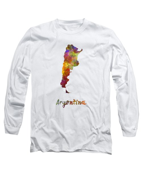 Argentina  In Watercolor Long Sleeve T-Shirt