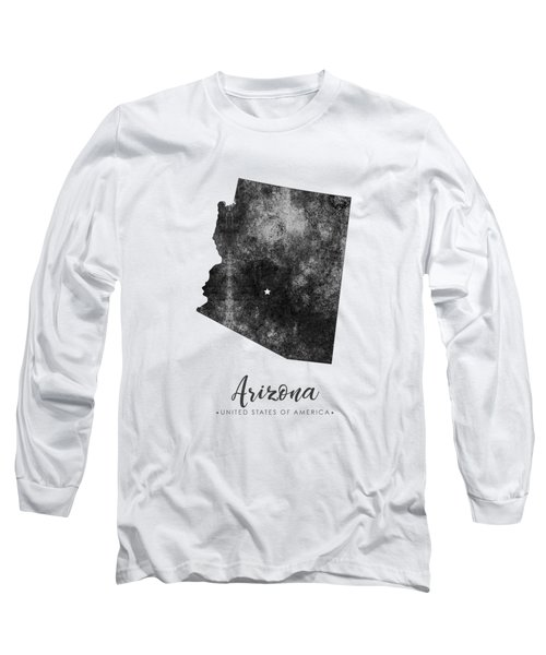 Arizona State Map Art - Grunge Silhouette Long Sleeve T-Shirt