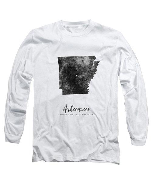 Arkansas State Map Art - Grunge Silhouette Long Sleeve T-Shirt