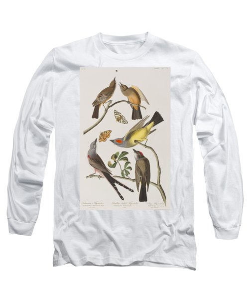 Arkansaw Flycatcher Swallow-tailed Flycatcher Says Flycatcher Long Sleeve T-Shirt by John James Audubon