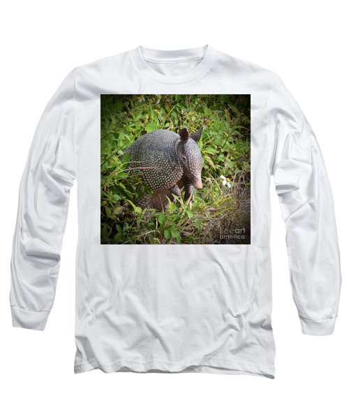 Long Sleeve T-Shirt featuring the photograph Armadillo And Flower by AnnaJo Vahle