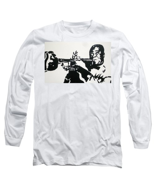 Long Sleeve T-Shirt featuring the drawing Armstrong Feeling Happy by Robert Margetts