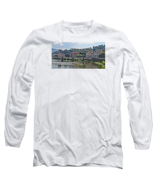 Arno River And Bridge Long Sleeve T-Shirt by Allan Levin