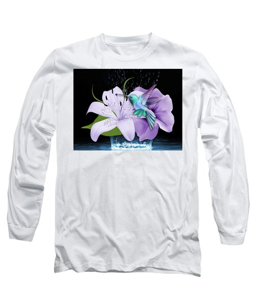 Long Sleeve T-Shirt featuring the mixed media Arrival Hummingbird by Marvin Blaine