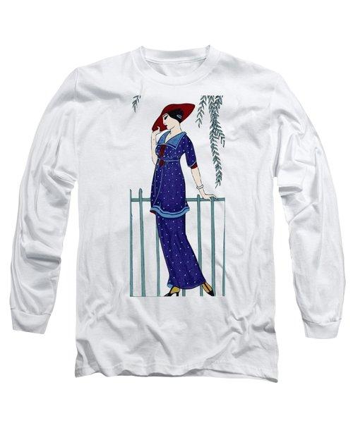 Art Deco Fashion Polka Dots Long Sleeve T-Shirt