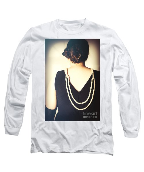 Art Deco Lady In Pearls Long Sleeve T-Shirt