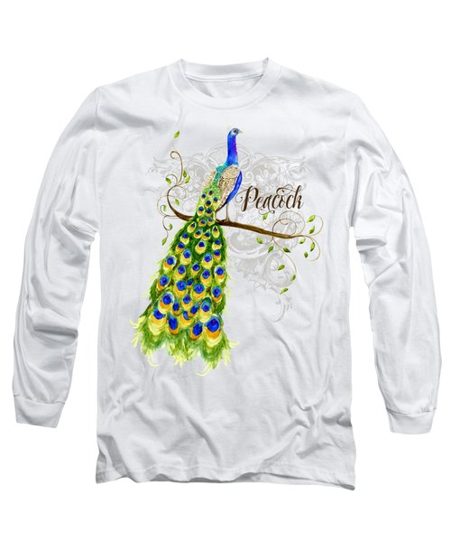 Art Nouveau Peacock W Swirl Tree Branch And Scrolls Long Sleeve T-Shirt by Audrey Jeanne Roberts