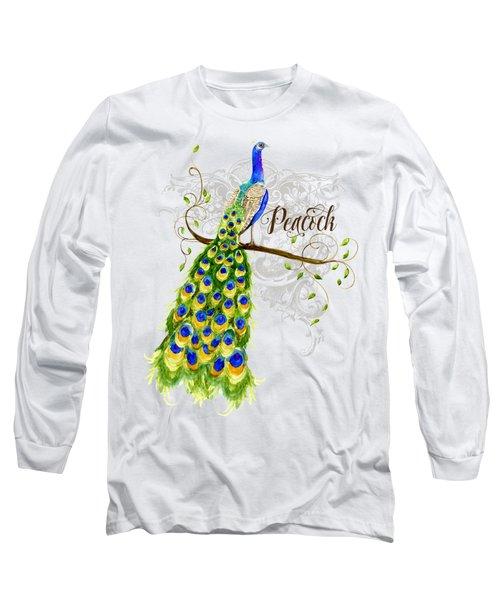 Art Nouveau Peacock W Swirl Tree Branch And Scrolls Long Sleeve T-Shirt