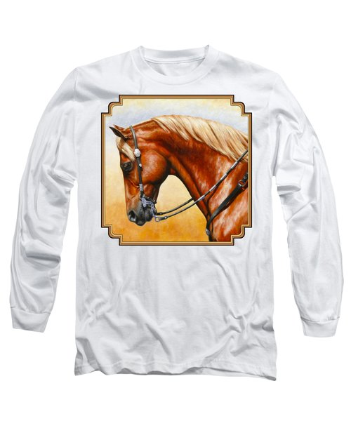 Precision - Horse Painting Long Sleeve T-Shirt by Crista Forest