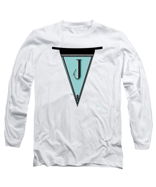 Pennant Deco Blues Banner Initial Letter J Long Sleeve T-Shirt by Cecely Bloom