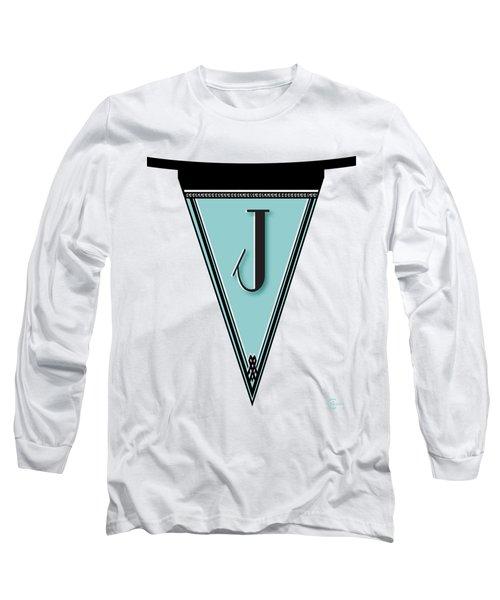 Pennant Deco Blues Banner Initial Letter J Long Sleeve T-Shirt