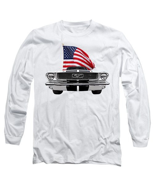 Patriotic Mustang On White Long Sleeve T-Shirt