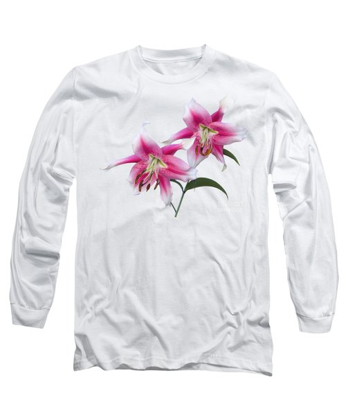 Pink And White Ot Lilies Long Sleeve T-Shirt