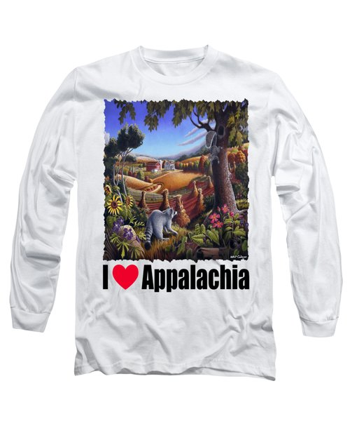 I Love Appalachia - Coon Gap Holler Country Farm Landscape 1 Long Sleeve T-Shirt by Walt Curlee