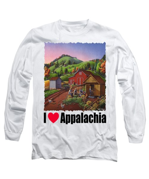 I Love Appalachia - Farmers Shucking Corn And Storing In Corncrib - Corn Crib Long Sleeve T-Shirt