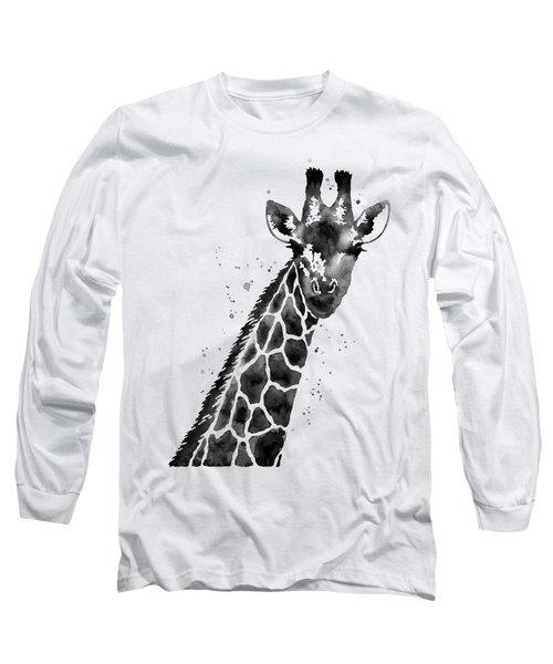 Giraffe In Black And White Long Sleeve T-Shirt