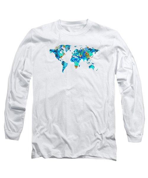 World Map 22 Art By Sharon Cummings Long Sleeve T-Shirt