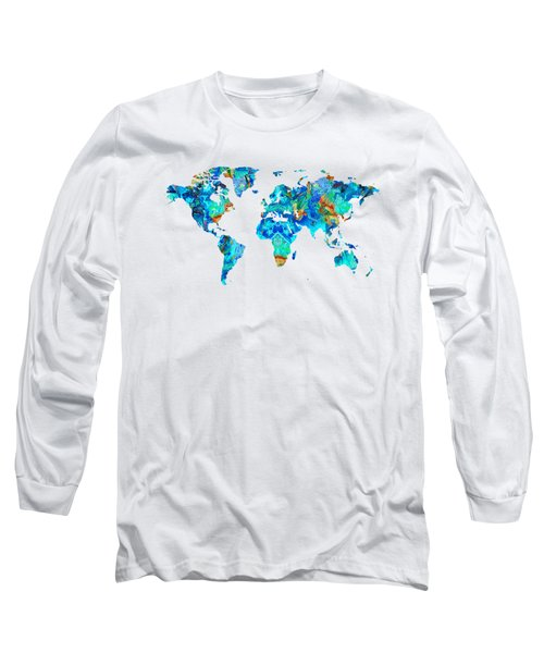 World Map 22 Art By Sharon Cummings Long Sleeve T-Shirt