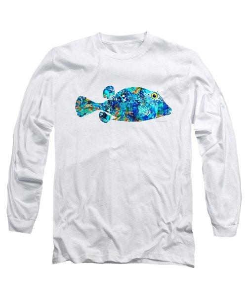 Blue Puffer Fish Art By Sharon Cummings Long Sleeve T-Shirt