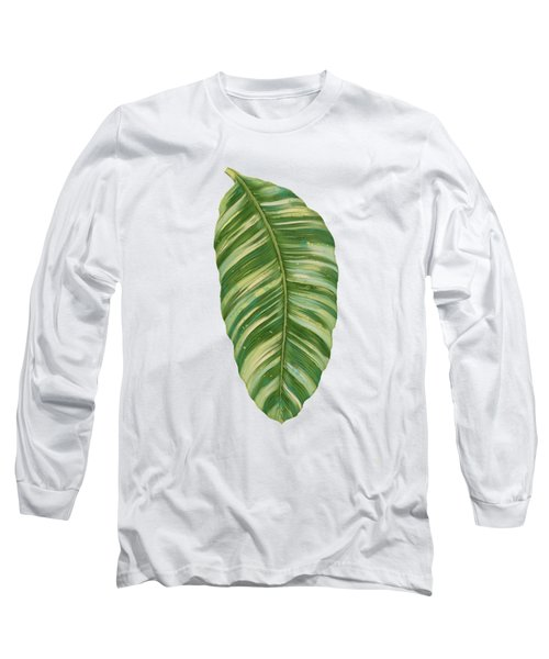 Rainforest Resort - Tropical Leaves Elephant's Ear Philodendron Banana Leaf Long Sleeve T-Shirt by Audrey Jeanne Roberts