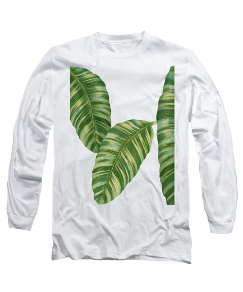 Rainforest Resort - Tropical Banana Leaf  Long Sleeve T-Shirt by Audrey Jeanne Roberts