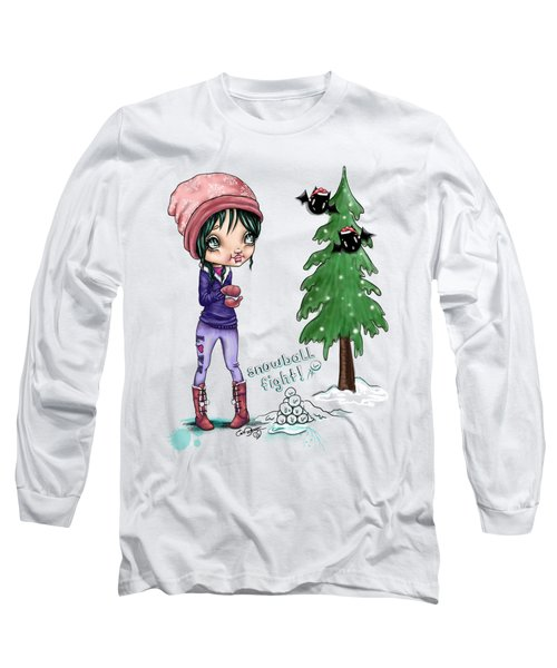 Long Sleeve T-Shirt featuring the painting Snowball Fight by Lizzy Love