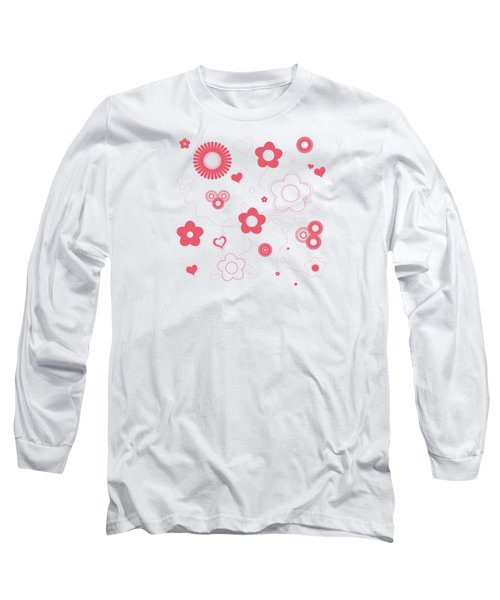 Playful Flower Background Long Sleeve T-Shirt by Serena King