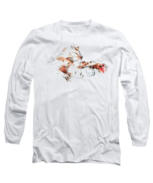 Long Sleeve T-Shirt featuring the mixed media Merph Chillin' - Pet Portrait by Carolyn Weltman
