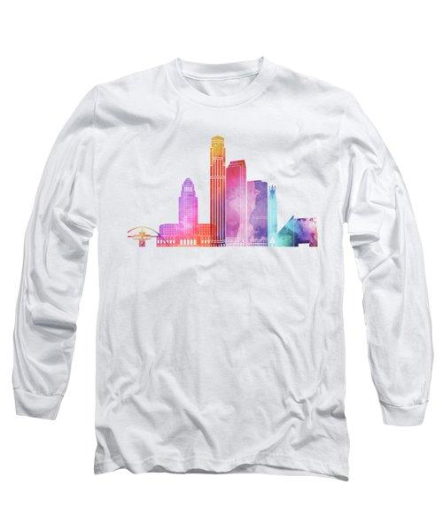 Los Angeles Landmarks Watercolor Poster Long Sleeve T-Shirt by Pablo Romero