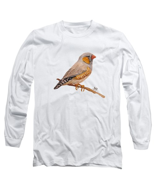 Zebra Finch Long Sleeve T-Shirt by Angeles M Pomata
