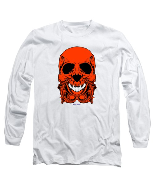 Red Skull  Long Sleeve T-Shirt by Rafael Salazar