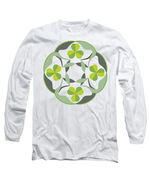 Celtic Inspired Shamrock Graphic Long Sleeve T-Shirt