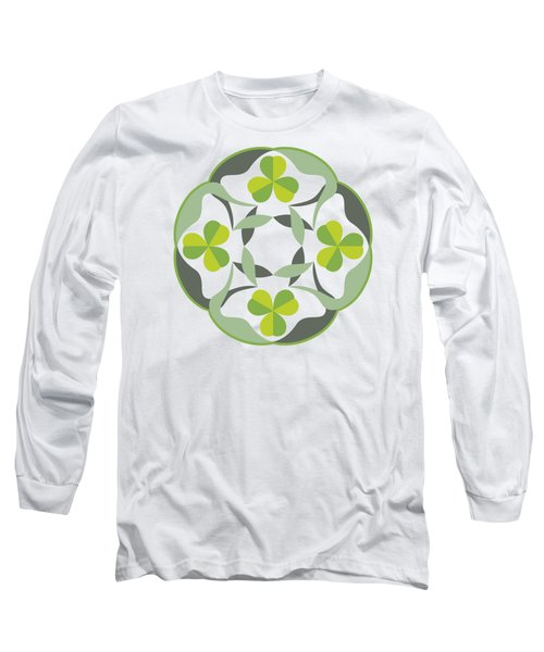 Celtic Inspired Shamrock Graphic Long Sleeve T-Shirt