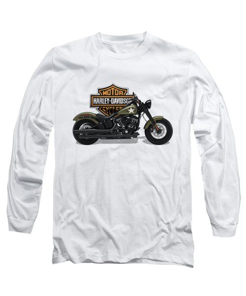 Long Sleeve T-Shirt featuring the digital art 2017 Harley-davidson Softail Slim S Motorcycle With 3d Badge Over Vintage Background  by Serge Averbukh