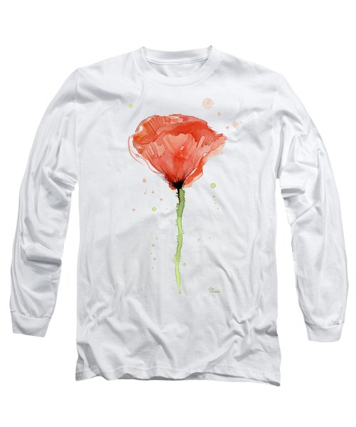 Abstract Red Poppy Watercolor Long Sleeve T-Shirt