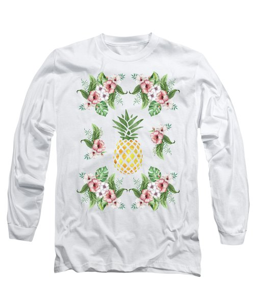 Exotic Hawaiian Flowers And Pineapple Long Sleeve T-Shirt by Georgeta Blanaru