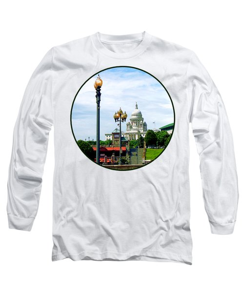 Capitol Building Seen From Waterplace Park Long Sleeve T-Shirt by Susan Savad