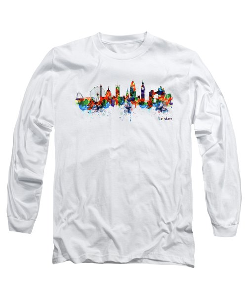 London Watercolor Skyline Silhouette Long Sleeve T-Shirt